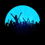 Party Crowd. A group of young people in a crowd at a music festival concert. Vector illustration Stock Photography