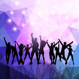 Party crowd on a low poly background Royalty Free Stock Photo