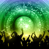 Party crowd on mirror ball background. Silhouette of a party crowd on an abstract mirror ball background with music notes and rainbow colours Royalty Free Stock Photography