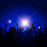 Party crowd on night sky background. Silhouette of a party crowd on a night sky background Royalty Free Stock Photo