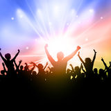 Party crowd on a starburst background Stock Image
