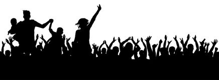 Party crowd vector, cheerful silhouette, cheers sport. Party crowd vector, cheerful silhouette, cheers sport Stock Image