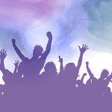 Party crowd on a watercolour background Stock Photos