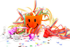 Party cup with streamers and confetti Stock Images