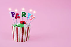 Party cupcake with candles. Birthday, celebration concept, copy space Royalty Free Stock Images