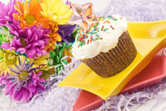 Party Cupcake with Colorful Flowers Royalty Free Stock Photos
