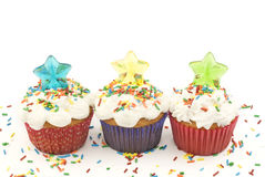 Party Cupcakes with Candy Stars Royalty Free Stock Photography