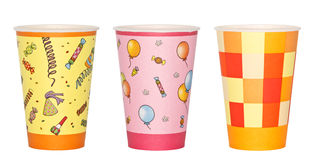 Party Cups. Three different paper cups decorated with party theme. Isolated on white Stock Image