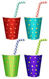 Party cups with straws Royalty Free Stock Images
