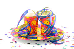 Party cups with streamers Stock Photography