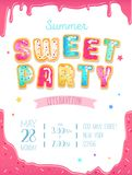 Party cute invitation design. Sweet donut party poster for birth vector illustration
