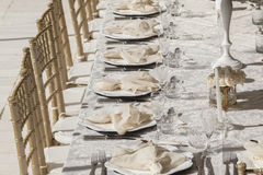 Party Cutlery Chairs Tables Decor Royalty Free Stock Image