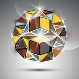 Party 3D gold twinkle globe. Vector fractal dazzling abstract il. Lustration - eps10 jewel. Gala theme. Fantastic kaleidoscope object with geometric figures Stock Image