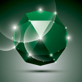Party 3D green shiny disco ball. Vector fractal dazzling abstrac Stock Images
