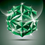 Party 3D green shiny disco ball. Vector fractal dazzling abstrac Stock Photography