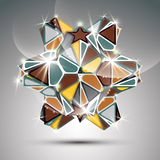 Party 3D metal glossy kaleidoscope object. Vector. Festive geometric illustration, eps10 shiny facet gemstone Stock Photo