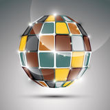 Party 3D metal gold twinkle ball created from geometric figures. Stock Image
