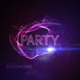 Party 3D Neon Sign. Vector Glowing Illustration. Applicable For Party Flyer, Banner, Poster Designs. Entertainment Party Concept. Party 3D Sign With Particles Stock Photo