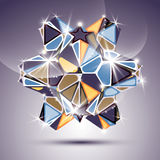 Party 3D twinkle kaleidoscope object. Vector festive geometric i Royalty Free Stock Photography