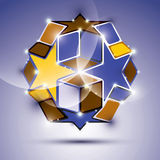Party 3D violet glossy mirror ball with stars and cubes. Vector Stock Photography