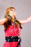 Party dance confetti woman Stock Image