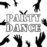 Party dance . Hands silhouette. Upper limb man. Index finger . Black and white style. Retro. Royalty Free Stock Image