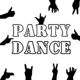 Party dance . Hands silhouette. Upper limb man. Index finger . Black and white style. Retro. Royalty Free Stock Photo