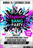 Party dance music poster, banner or flyer with explode & haltone elements vector illustration