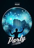 Party Dance Poster Background Template with DJ silhouette on blue urban  - Vector Illustration Royalty Free Stock Photography