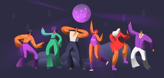Party Dancer Character Dance in Nightclub. Disco Ball Over Group of People Dancing. Happy Friends Clubbing Concept royalty free illustration