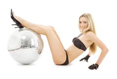 Party dancer with disco ball Royalty Free Stock Image