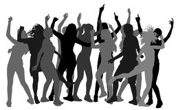 Party dancer people  silhouette, girl night. Party dancer people  silhouette illustration. Nightlife party concept with crew dancing. Disco club event. Girl Stock Image