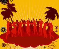 Party dancers. Party, silhouette people dancing on  the party island Royalty Free Stock Photos