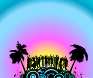 Party dancers. Silhouette people dancing on the party island Royalty Free Stock Photo