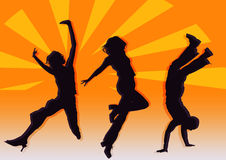 Party dancers. A pose dancers on various color background Royalty Free Stock Photo