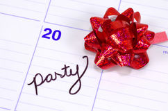 Party Date. Calendar With Bow and The Word Party Royalty Free Stock Image