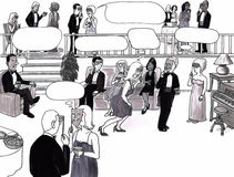 Party, dating, thought bubbles. Room full of sophisticated adults in an elegant room at a party socializing. Thought bubble spaces are above some of their heads Stock Illustration