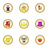 Party day icon set, cartoon style Stock Photography