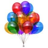 Party a decoração dos balões do feliz aniversario do grupo do balão lustrosa Ilustração Stock