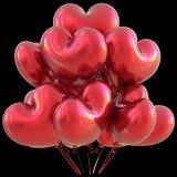 Party a decoração vermelha do evento do amor do feliz aniversario dos balões do coração Imagens de Stock Royalty Free