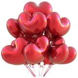 Party a decoração vermelha do evento do amor do feliz aniversario dos balões do coração Fotos de Stock