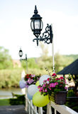 Party decoration. Fresh outdoor party flower decoration Stock Image