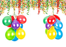 Party decoration. Air balloons, confetti, serpentine Stock Image