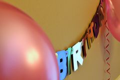 Party decoration. With banner and balloon Royalty Free Stock Photo