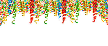 Party decoration border serpentine confetti Holidays background stock images