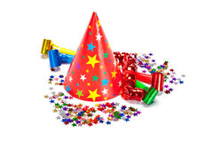 Party decoration - caps, confetti and streamers Stock Photo