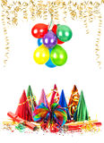 Party decoration and colorful air balloons Royalty Free Stock Photography
