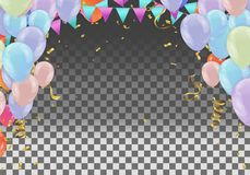 Party decoration concept Happy Birthday greeting background celebration colorful balloons on a bright confetti. vector royalty free illustration