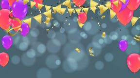 Party decoration concept Happy Birthday greeting card bokeh effe. Ct Royalty Free Stock Photos