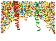 Party decoration. Confetti and colorful streamer Royalty Free Stock Photography